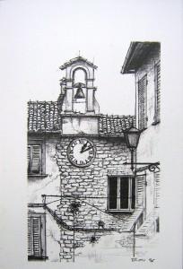 """Borgo"" (penna a sfera su carta)"