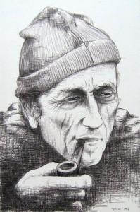 """""""Jaques Cousteau"""" (penna a sfera su carta)"""