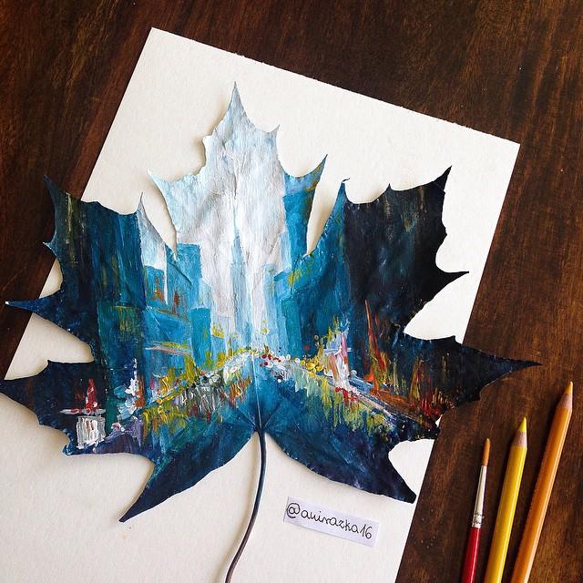 Artista polacca utilizza le foglie cadute come tela per i dipinti