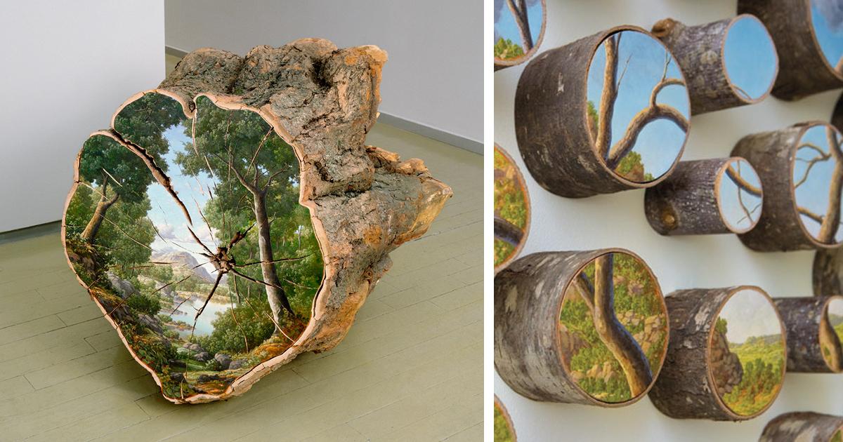 Paesaggi dipinti su tronchi caduti