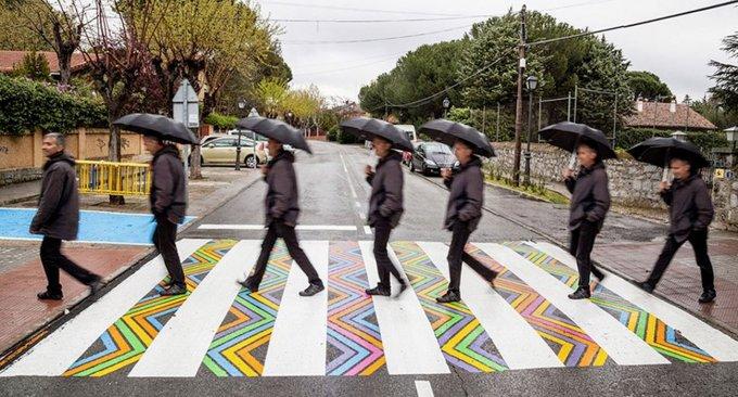 A Madrid le strisce pedonali diventano arte, per far divertire i pedoni e non solo