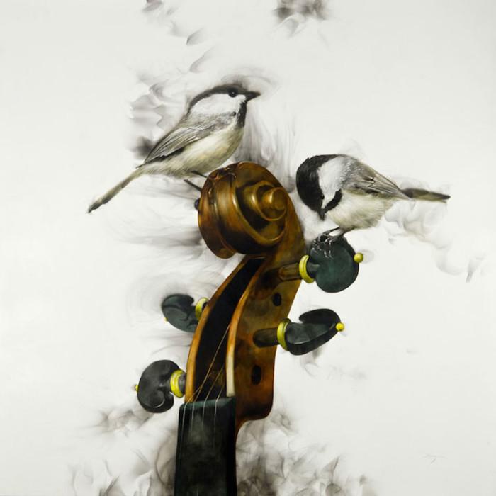 Artista usa fuoco e fumo per creare delicate immagini di uccelli